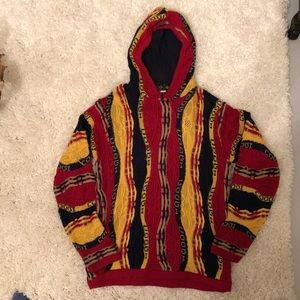 Vintage COOGI red blue yellow hooded sweater 12/14
